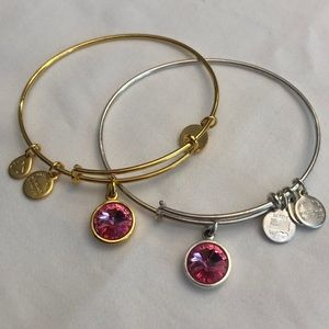 Alex and Ani Gold and Silver October Pink Bracelet